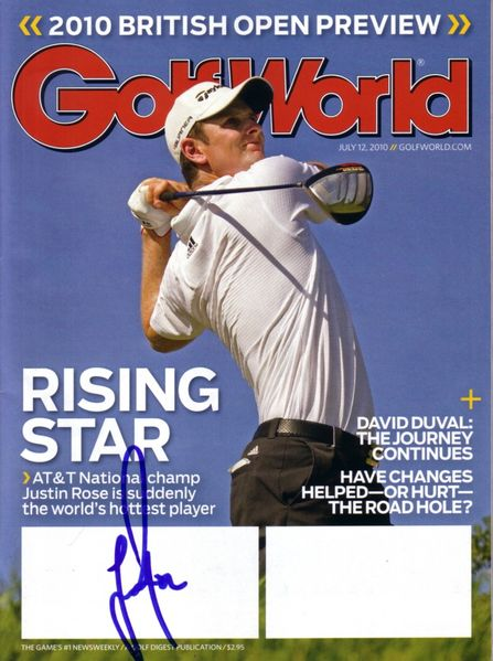 Justin Rose autographed 2010 Golf World magazine
