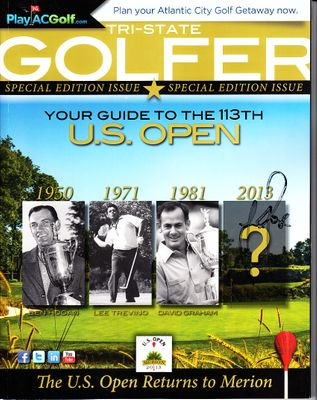 Justin Rose autographed 2013 U.S. Open Merion golf preview magazine