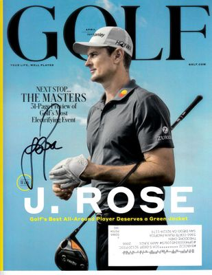 Justin Rose autographed 2019 Golf Magazine cover