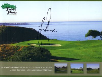 Justin Rose autographed Torrey Pines South golf scorecard