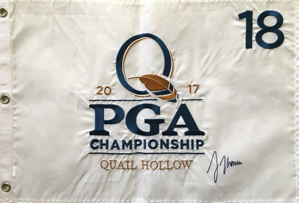 Justin Thomas autographed 2017 PGA Championship embroidered golf pin flag