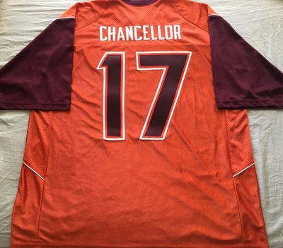 Kam Chancellor Virginia Tech Hokies authentic Nike triple stitched orange jersey NEW