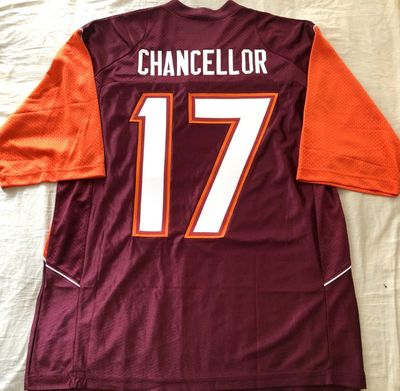 Kam Chancellor Virginia Tech Hokies authentic Nike stitched maroon and orange jersey