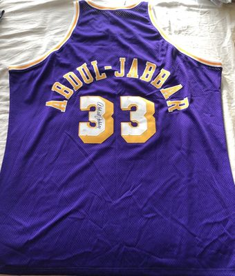 Kareem Abdul-Jabbar autographed Los Angeles Lakers 1979-80 Mitchell and Ness jersey (JSA)