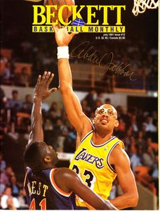 Kareem Abdul-Jabbar autographed Los Angeles Lakers 1991 Beckett Basketball magazine