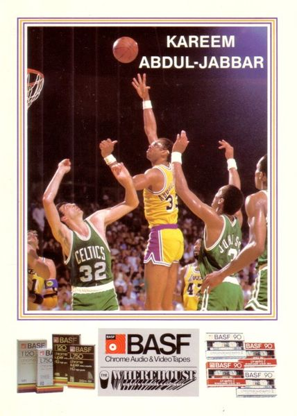 Kareem Abdul-Jabbar Lakers 1984-85 BASF 5x7 card