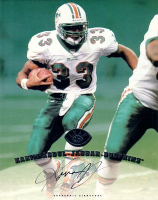 Karim Abdul-Jabbar certified autograph Miami Dolphins 1997 Leaf 8x10 photo card