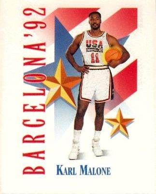 Karl Malone 1991-92 SkyBox USA Dream Team Mark and See mini card