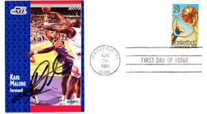 Karl Malone autographed Utah Jazz 1991-92 Fleer card on basketball First Day Cover
