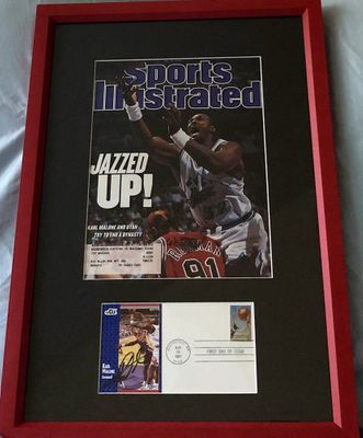 Karl Malone autographed Utah Jazz 1991-92 Fleer card First Day Cover framed with 1997 Sports Illustrated cover