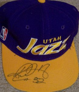 Karl Malone autographed Utah Jazz embroidered cap or hat