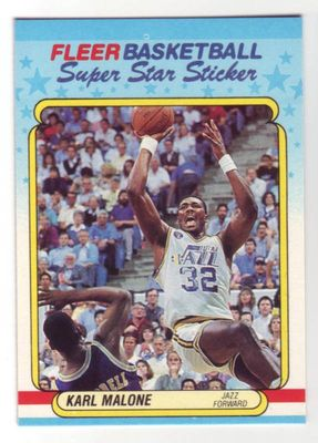 Karl Malone Utah Jazz 1988-89 Fleer sticker card