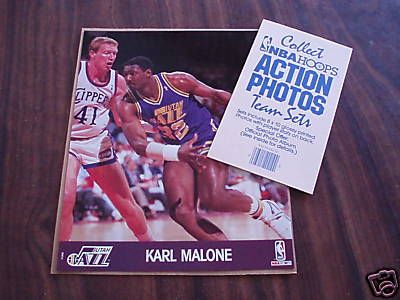 Karl Malone Utah Jazz 1990 NBA Hoops 8x10 photo