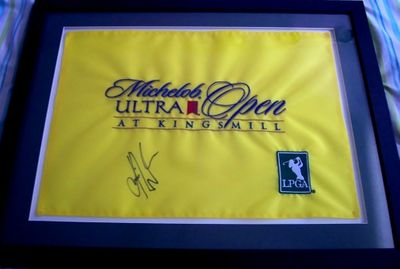 Karrie Webb autographed 2006 LPGA Michelob Ultra Open at Kingsmill golf pin flag matted & framed
