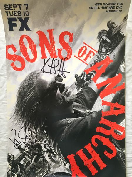 Katey Sagal and Kurt Sutter autographed Sons of Anarchy 2010 Comic-Con poster