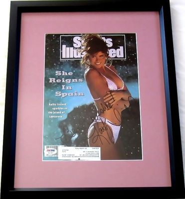 Kathy Ireland autographed 1992 Sports Illustrated Swimsuit Issue cover inscribed Best wishes matted and framed (PSA/DNA)