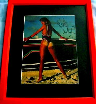 Kathy Ireland autographed Sports Illustrated swimsuit issue photo matted and framed