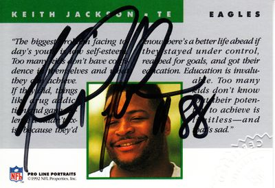 Keith Jackson certified autograph Philadelphia Eagles 1992 Pro Line card