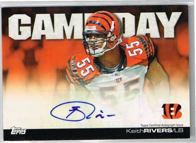 Keith Rivers certified autograph Cincinnati Bengals 2011 Topps Game Day card