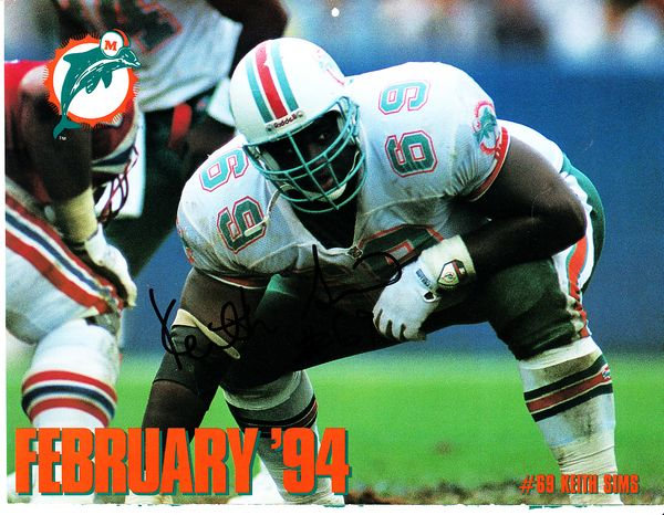 Keith Sims autographed Miami Dolphins 1993-1994 calendar page photo