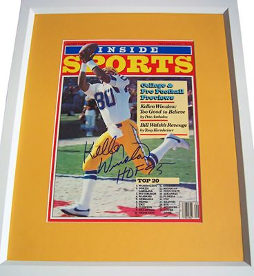 Kellen Winslow autographed San Diego Chargers 1982 Inside Sports magazine cover matted and framed (inscribed HOF 95)