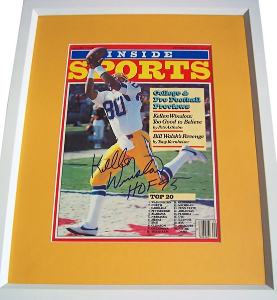 Kellen Winslow autographed San Diego Chargers 1982 Inside Sports magazine cover matted and framed