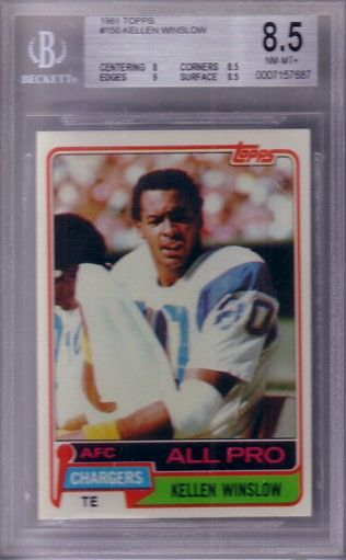 Kellen Winslow San Diego Chargers 1981 Topps Rookie Card graded BGS 8.5 NrMt-Mt+