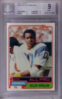 Kellen Winslow San Diego Chargers 1981 Topps Rookie Card RC graded BGS 9 MINT
