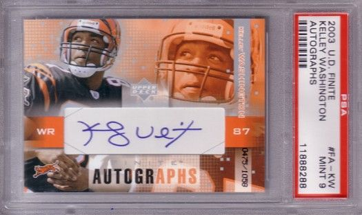 Kelley Washington certified autograph 2003 Upper Deck Finite card #475/1058 graded PSA 9 MINT