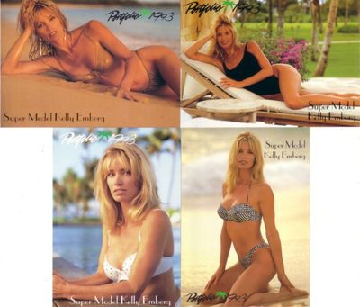 Kelly Emberg 1993 Portfolio swimsuit insert card set (4)