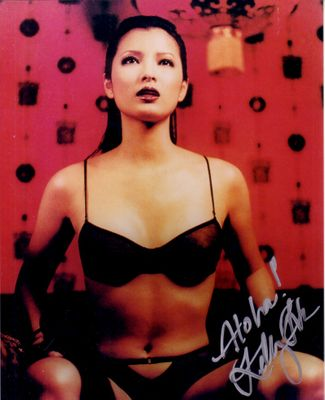 Kelly Hu autographed sexy 8x10 lingerie photo inscribed Aloha!