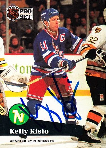 Kelly Kisio autographed New York Rangers 1991-92 Pro Set card