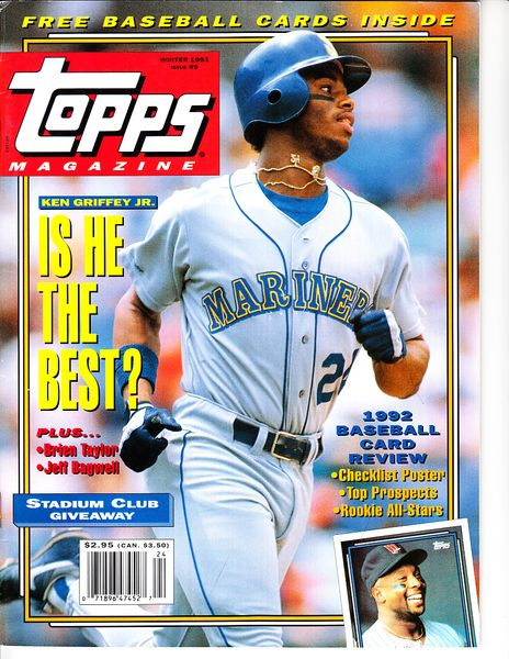 Ken Griffey Jr. Seattle Mariners Winter 1992 Topps magazine issue #9