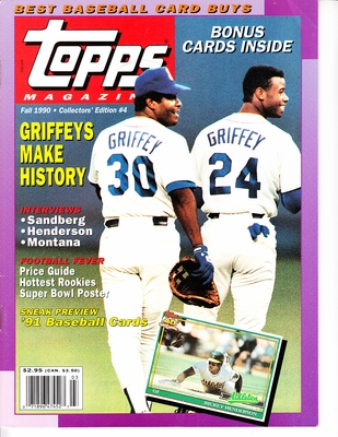 Ken Griffey Jr. & Sr. Seattle Mariners Fall 1990 Topps magazine issue #4