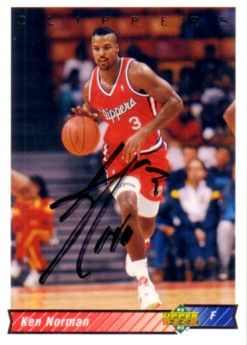 Ken Norman autographed Los Angeles Clippers 1992-93 Upper Deck card