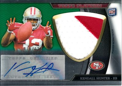 Kendall Hunter certified autograph 2011 Topps Platinum worn jersey patch Rookie Card