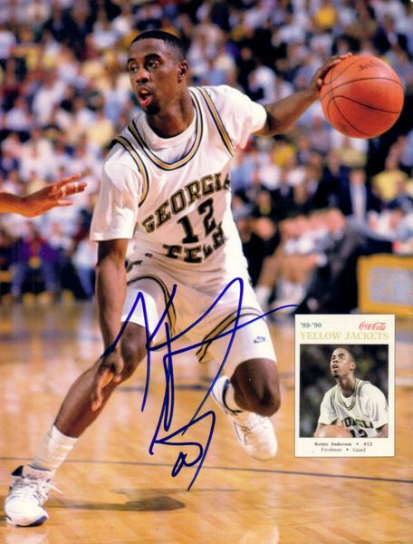 Kenny Anderson autographed Georgia Tech magazine back cover photo