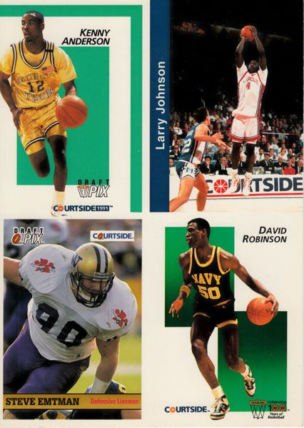 David Robinson Kenny Anderson Larry Johnson 1991 Courtside 5x7 promo card panel (1 of 5000)