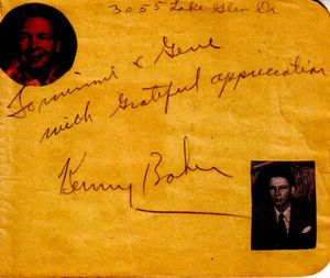 Kenny Baker autographed autograph album or book page