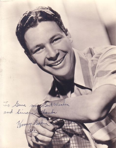 Kenny Baker autographed portrait photo (dated 1946 inscribed to Gene)