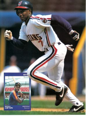 Kenny Lofton autographed Cleveland Indians Beckett Baseball back cover photo