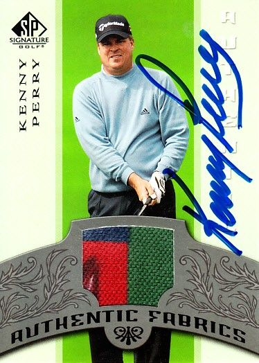 Kenny Perry autographed 2005 SP Signature tournament worn shirt swatch card
