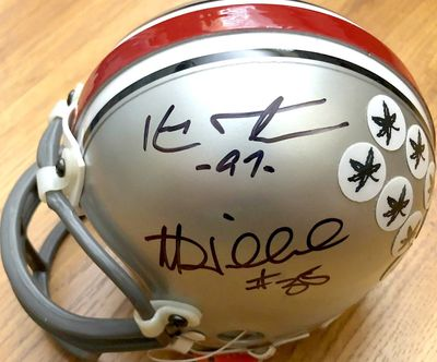 Kenny Peterson and Matt Wilhelm autographed Ohio State Buckeyes mini helmet