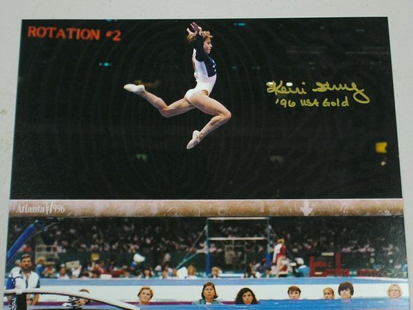 Kerri Strug autographed 1996 Olympic gymnastics 8x10 vault photo inscribed '96 USA Gold