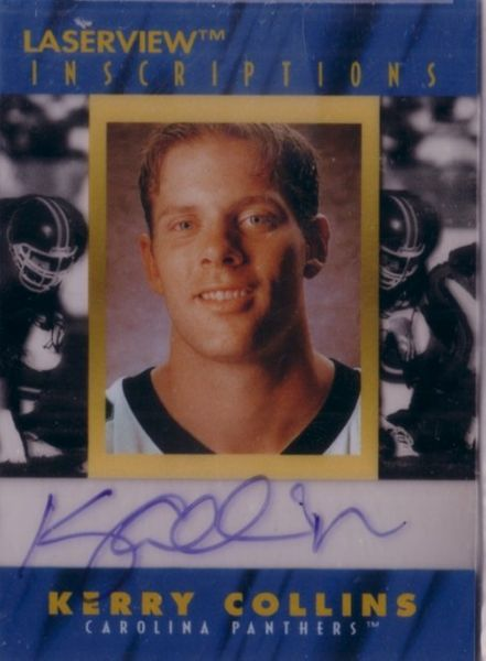 Kerry Collins certified autograph Carolina Panthers 1996 Pinnacle Inscriptions card