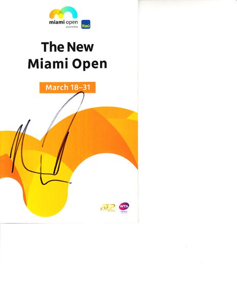 Kevin Anderson autographed 2019 Miami Open tennis tournament map and program