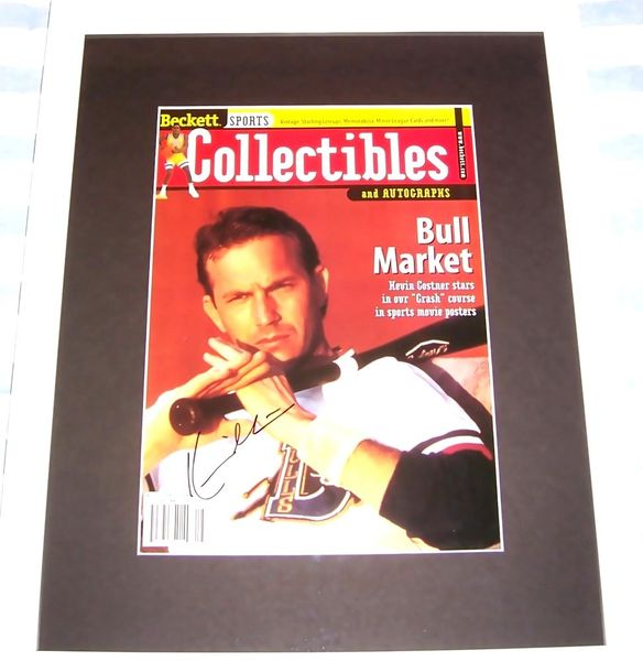 Kevin Costner autographed Bull Durham 1998 Beckett magazine cover matted and framed