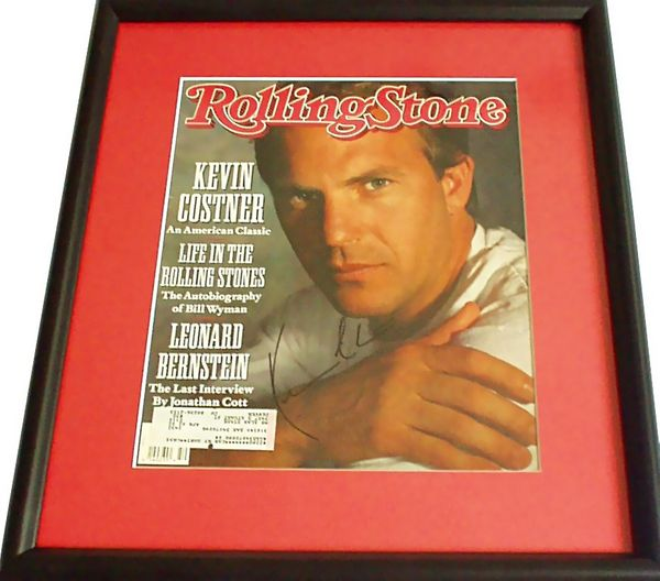 Kevin Costner autographed 1990 Rolling Stone magazine cover matted and framed