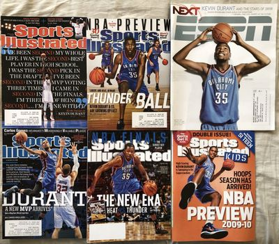 Kevin Durant Oklahoma City Thunder lot of 6 magazines 2009 2010 2012 2013 2014 ESPN Sports Illustrated SI for Kids