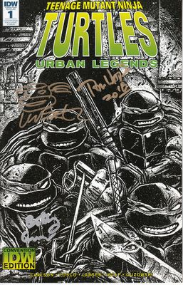 Kevin Eastman Bobby Curnow Tom Waltz autographed Teenage Mutant Ninja Turtles Urban Legends 2018 Comic-Con exclusive comic book